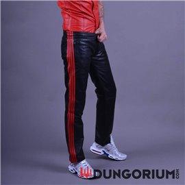 Schwarze lange Lederhose mit 4 Streifen