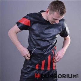 Schwarzes Hemd aus Leder mit roten Streifen