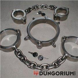 Kombination Halseisen, Hand- Fußeisenkombination mit Kette, mit Zylinderschlössern 10 kg