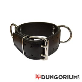 Mister B Leather Slave Collar D-Rings Broad