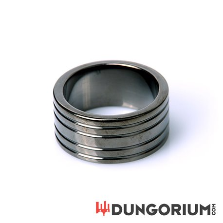 Black Steel Cockring Ribbed-8718969400954