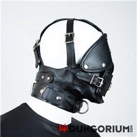 Premium-Maulkorb aus Leder mit Augenbinde und Knebel