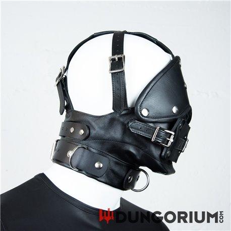 Premium-Maulkorb aus Leder mit Augenbinde und Knebel-811847013203