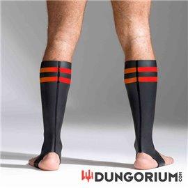Neopren Socken Schwarz mit farbigen Streifen