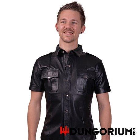 Leder Polizeishirt mit kurzen Ärmeln aus Rindsleder