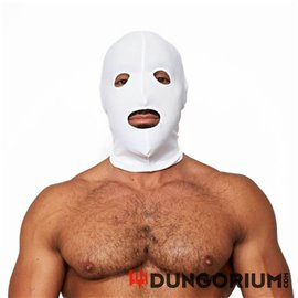 Mister B weiße Lycra Maske - Eyes and Mouth Open